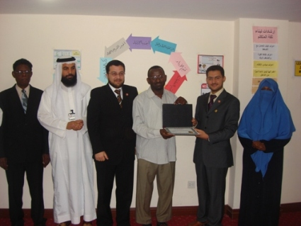 Trainee Al-Fadel Mohammad while receiving the certificate
