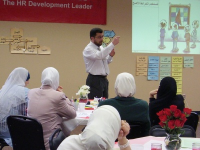 Trainer Mohammad Pedra during the demonstration