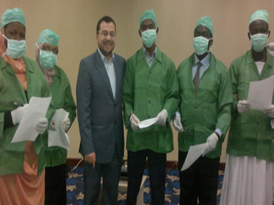 A photo of doctors with Dr. Mohammed Pedra at the end of the game.