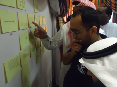 the trainees that reached the answers wall searches for their questions' appropriate answers