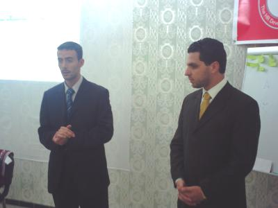 Trainer Fateh Beyyod _the training manager_ is presenting trainer Basel Alnassar