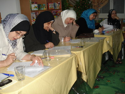 The trainees while filling the questionnaire