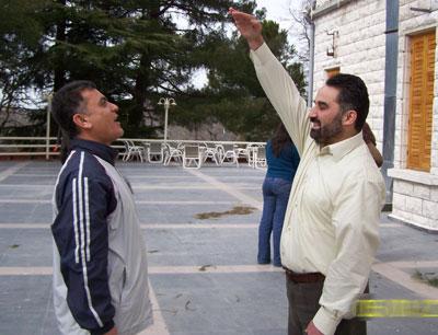 Trainee Muhamad  Zabadieh (right) - Trainee Ahmad  Esfinjeh (left) doing exercises