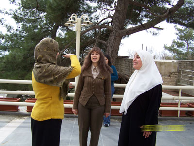 Trainees doing exercises - Trainee Eeman  Hairan (right) - Trainee Roula  Sakakini (middle) - Trainee Kadeja  AL mourabet (left)