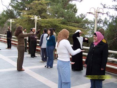 Trainees doing exercises