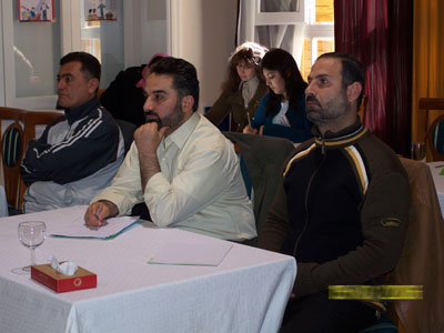 Trainees during course - Dr. Mustafa  Al-Aaraj (right) - Trainee Muhamad  Zabadieh - Trainee Ahmad  Esfinjeh