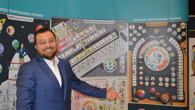 الدكتور محمد يقدم شرحه من خلال الستاندات لسهولة إيصال المعلومات والمعارف