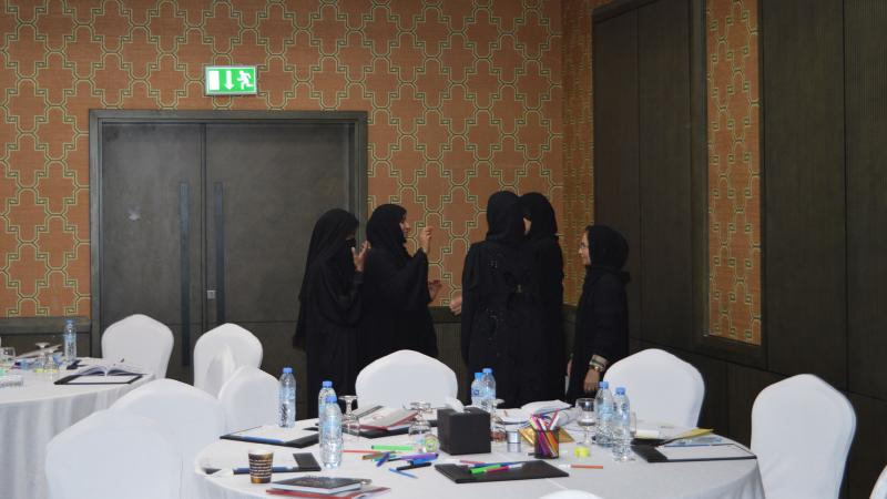 تقسيم المتدربين إلى مجموعات للقيام بالتمرينات