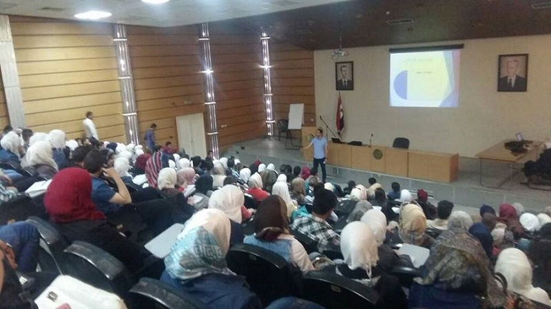 ورشة لتنمية القدرات الإبداعية مع المدرب أول نمير عسول على مدرج جامعة دمشق