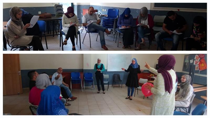 معلمات ومعلمين وحدة النهضه للشبيبة في ورشة تدريبية مع المدربة سهى أبو رومي